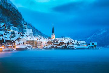 Twilight view of Hallstatt in winter, Salzkammergut, Austria