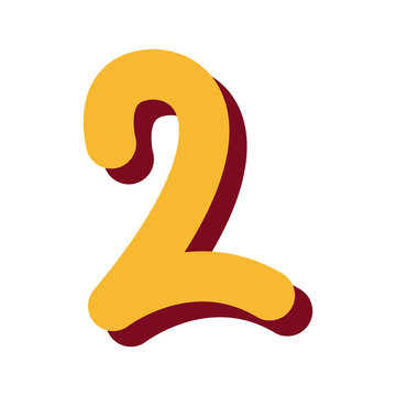 yellow number two font on white background