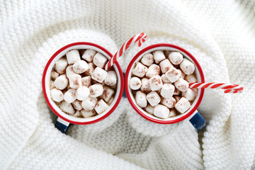 Cappuccino with marshmallows and sweet candy canes