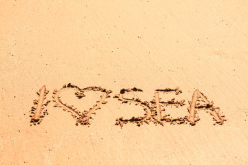 Writings on the wet sea sand - I love sea