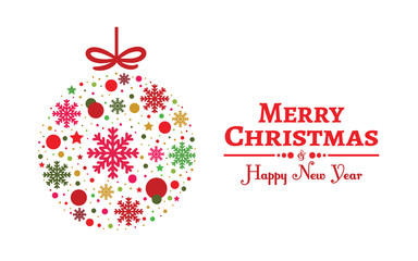 Creative christmas greeting card background with ball.