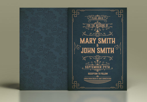 Vintage-Style Wedding Invitation Layout