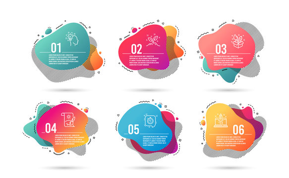 Infographic timeline 6 steps. Abstract 6 options graphic elements. Gradient banners with liquid shapes. Template for the infographic design of flyer or timeline presentation. Vector.