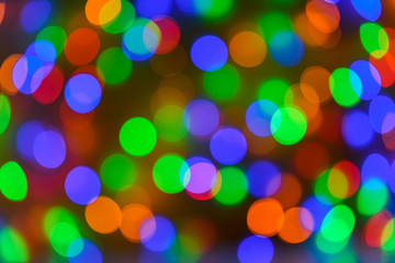 Christmas bokeh background, copy space. Defocused new year bokeh lights, free space. Blurred bokeh. Abstract holiday glitter background