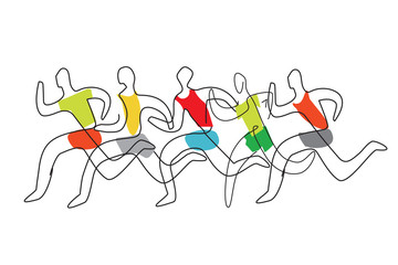 Running race line art stylized. 