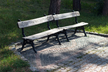 old benches in the park