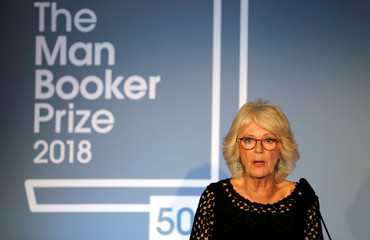 Britain's Camilla, the Duchess of Cornwall addresses the guests during the Man Booker Prize for Fiction 2018