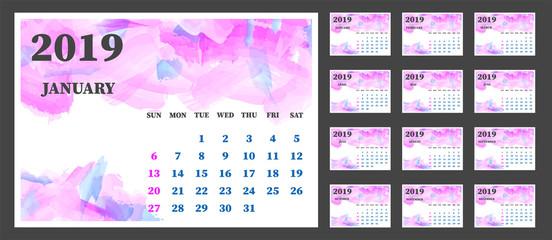 Calendar set 2019 watercolor vector illustration.