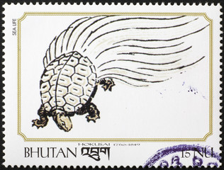 Turtle painted by Hokusai on postage stamp