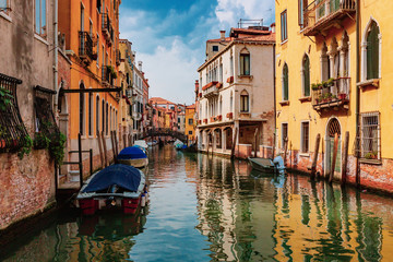 Venetian buildings by canal in Venice, Italy
