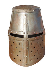 High middle ages medieval great helmet or bucket helm