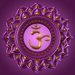 magenta Sahasrara chakra symbol, 3d modern illustration