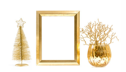 Golden picture frame Christmas decoration
