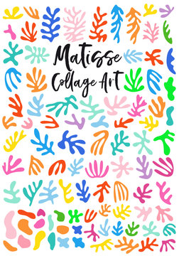Matisse style collage art, vector graphic design elements