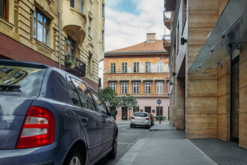 A car in old town in Europe
