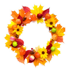 Wreath of autumn leaves with flowers, fruits isolated on white background