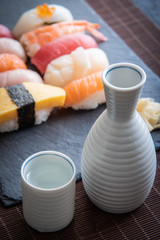 japanese sushi and sake