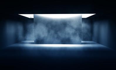 Background of empty dark room with concrete floor. Empty walls, neon light, smoke. Fotomurales