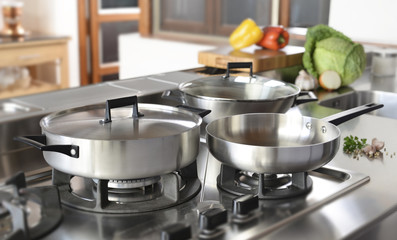 set of cookware in the kitchen