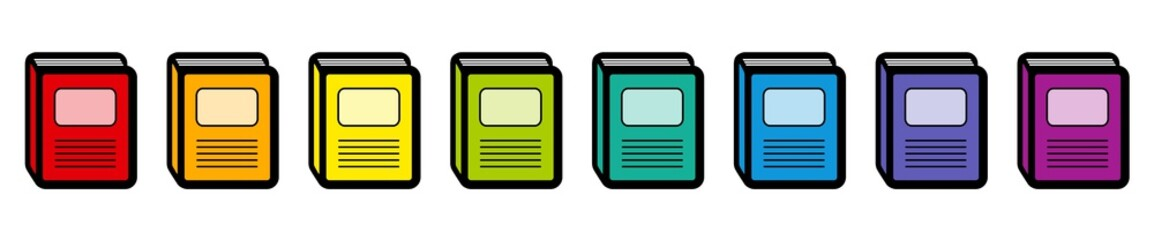 Book icons, rainbow colored collection. Isolated vector illustration on white background.