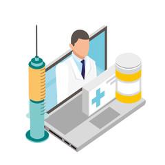 doctor laptop online medicine bottle and syringe