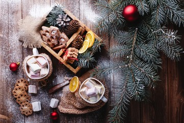 Christmas and New Year decor. Look from above at two cups with hot chocolate, cinamon cookies, green tree branches and snow on a wooden table