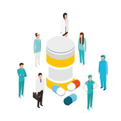 people staff medical bottle medicine capsule