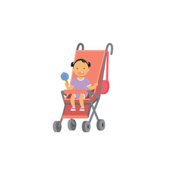 baby girl with toy pink stroller full length avatar on white background, successful family concept, flat cartoon vector illustration