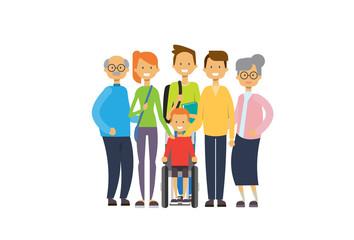grandparents parents children grandchildren wheelchair , multi generation family, full length avatar on white background, happy family together concept, tree of genus flat cartoon vector illustration