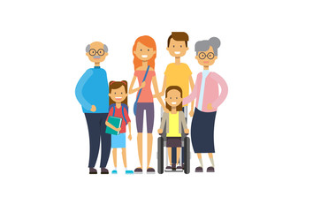 grandparents parents children girl wheelchair , multi generation family, full length avatar on white background, happy family together concept, tree of genus flat cartoon vector illustration