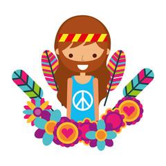 hippie man cartoon feathers flowers