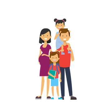 pregnant mother father hold baby daughter full length avatar on white background, successful family concept, flat cartoon vector illustration