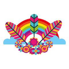 hippie retro tribal feathers rainbow decoration