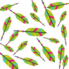 colored feathers tribal decoration pattern