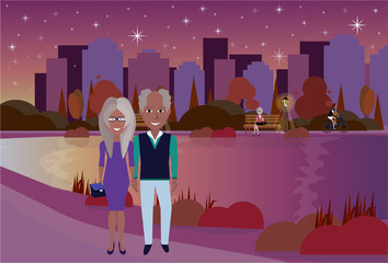 city park outdoors african old people couple river on city buildings template background flat vector illustration