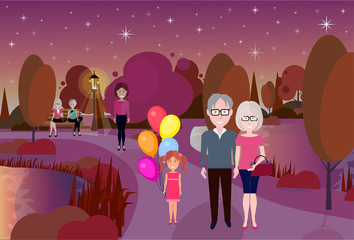 city park outdoors girl hold balloons grandparents wooden bench street lamp river lawn trees on city buildings template background flat vector illustration