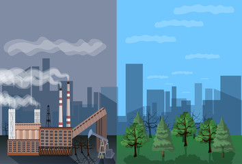 Factory building nature pollution plant pipe waste. environment two side comparisonside nature global warming illegal pollution flat vector illustration
