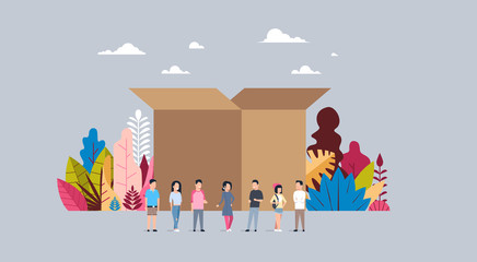 delivery parcel concept opened cardboard box casual people group teamwork flat vector illustration
