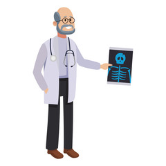 Male doctor with bones xray