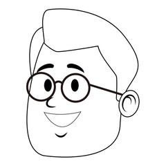 Man face with glasses cartoon