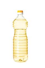 Plastic bottle of oil on white background