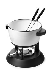 Modern fondue set on white background. Kitchen equipment