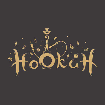 Gold lettering with a stylized hookah in the background of fruits