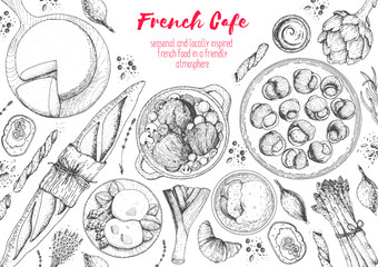French cuisine top view frame. A set of classic French dishes with bakery, beef bourguignon, escargot, poached eggs, onion soup. Food menu design template. Hand drawn sketch vector illustration.