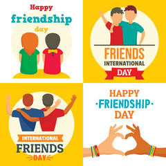 Friends day banner set. Flat illustration of friends day vector banner set for web design