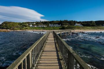 Landscape wooden bridge at Ballycastle beach, Northern Ireland