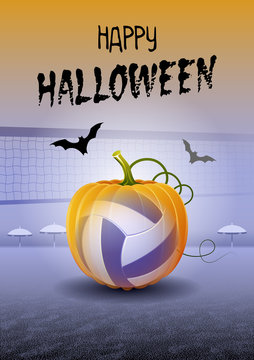 Happy Halloween. Sports greeting card. Realistic beach volleyball ball in the shape of a Pumpkin. Vector illustration.