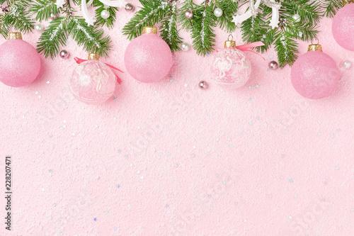 Pastel Christmas Ornaments.Christmas Border Of Christmas Ornaments Decoratoin Fir On