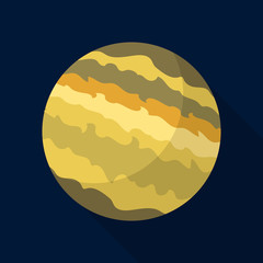 Jupiter planet icon. Flat illustration of jupiter planet vector icon for web design