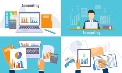 International accounting day banner set. Flat illustration of international accounting day vector banner set for web design